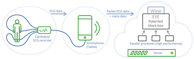 ECG recorder, smartphone and server integration developed by Ardas Group